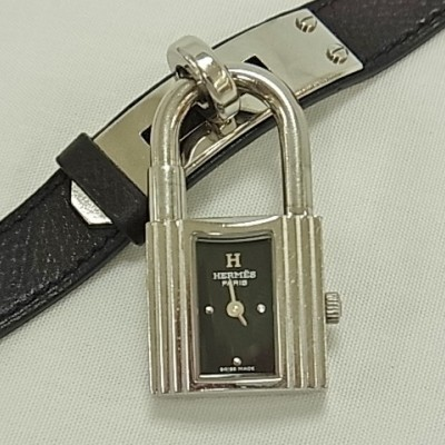 Hermes Kelly watch black Dial  leather belt Quartz SS  Ladies