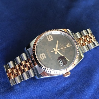 ロレックス Rolex DATEJUST 116231 Steel & Everose Gold Chocolate Floral Diamond 6 & 9 Ref.116231