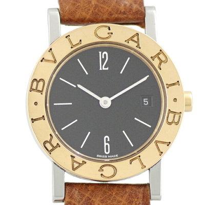 5d1ac1a3e76 Bvlgari Bvlgari L Preto Discagem SS aço inoxidável K18YG ouro amarelo two  tone genuine leather strap